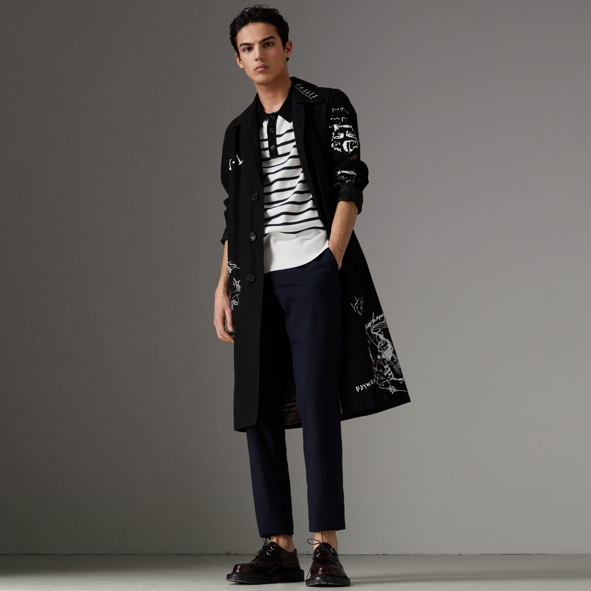 Sketch Print Car Coat in Black - Men | Burberry Australia - gallery image 0