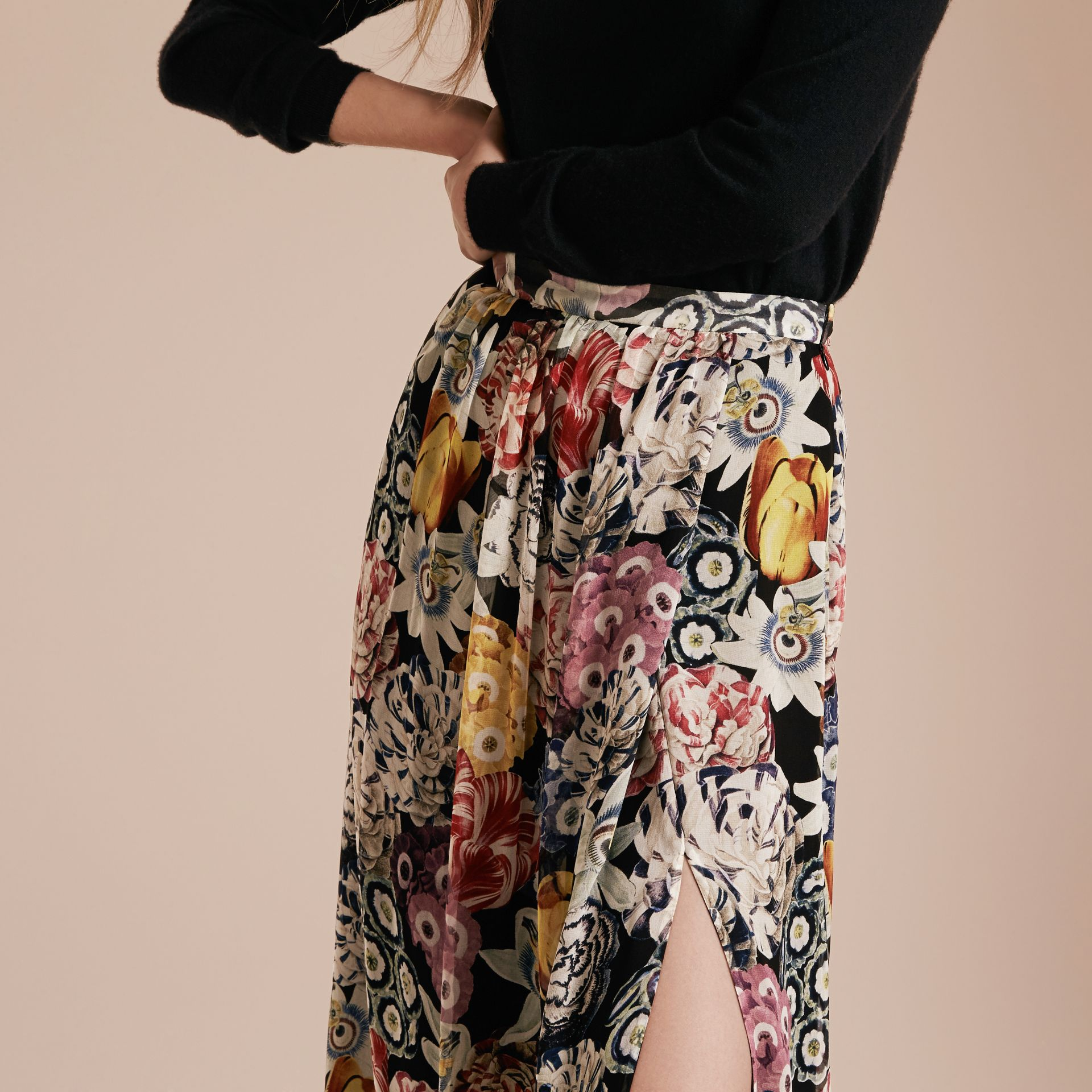 Black Floor-length Floral Print Silk Skirt - gallery image 5