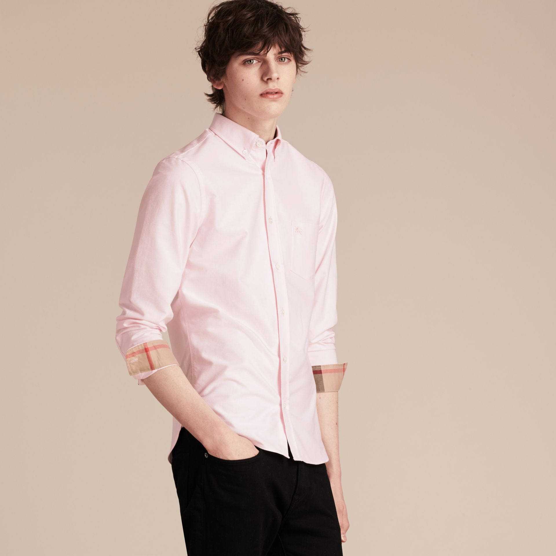 Check Detail Cotton Oxford Shirt in Pale Pink - gallery image 6
