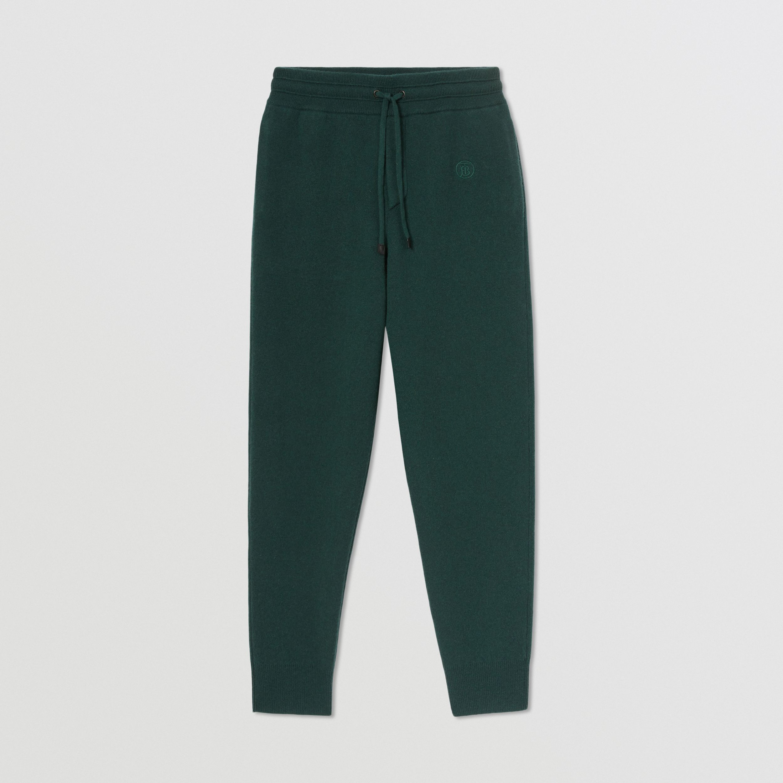 Monogram Motif Cashmere Blend Jogging Pants in Bottle Green - Women | Burberry - 4