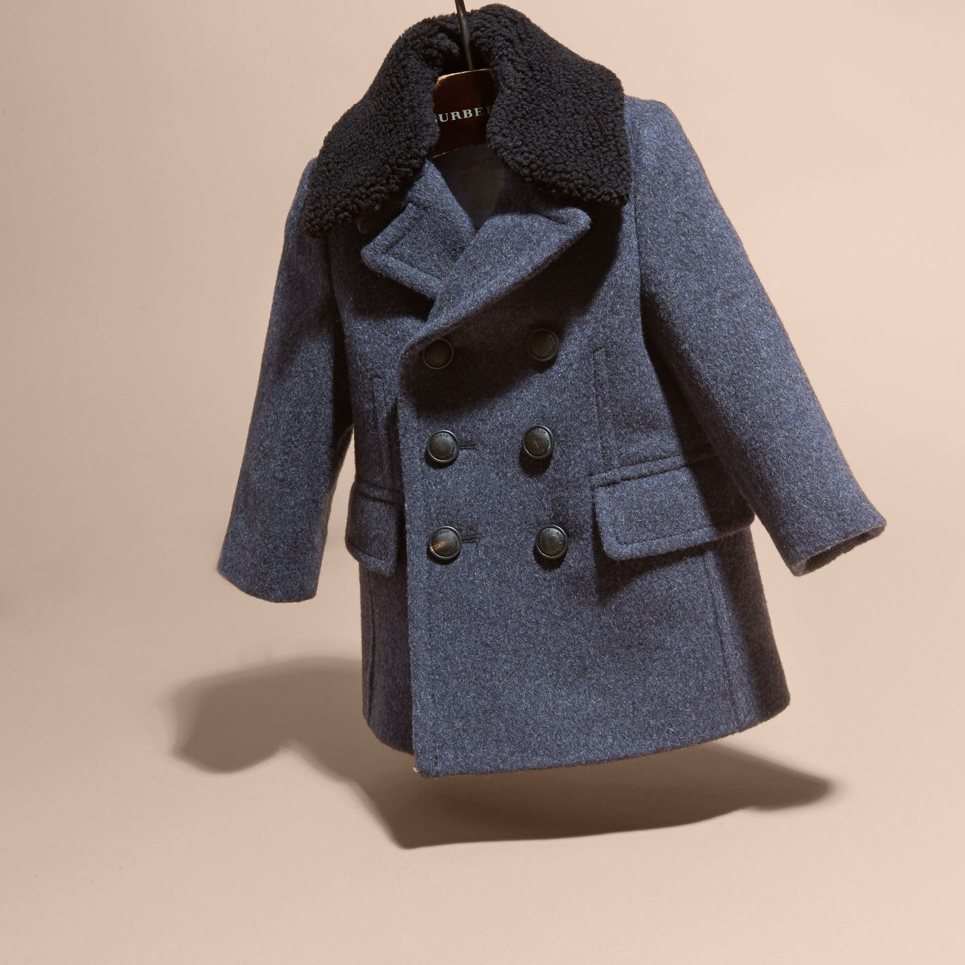 Airforce blue Technical Wool Coat with Detachable Textured Collar - gallery image 3