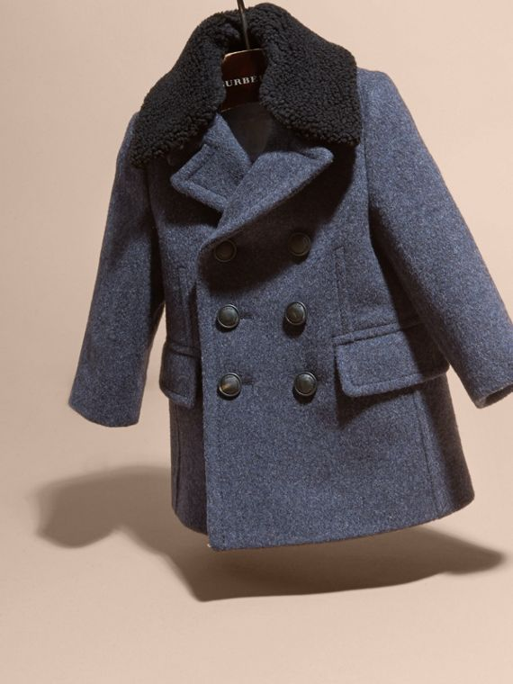 Airforce blue Technical Wool Coat with Detachable Textured Collar - cell image 2