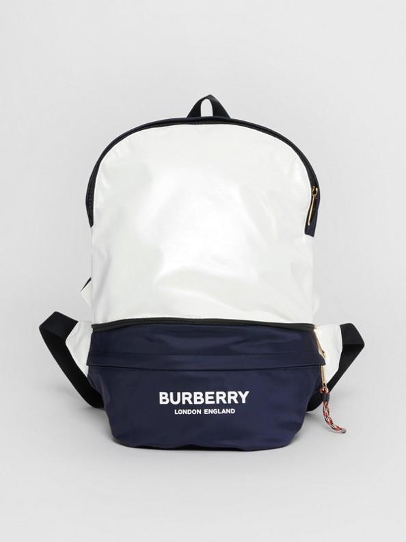 Logo Print Two-tone Convertible Bum Bag in Pearl