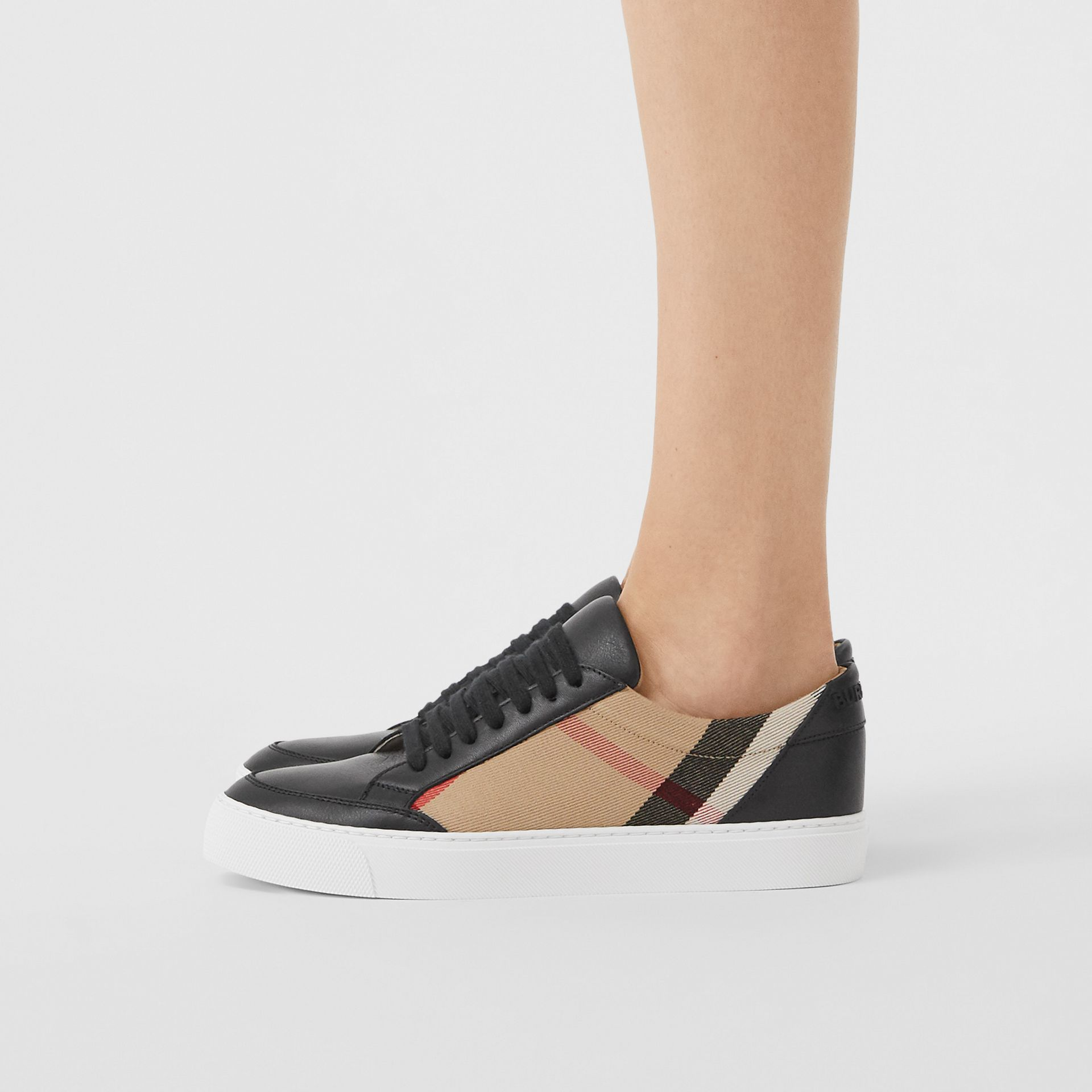 House Check and Leather Sneakers in Black - Women | Burberry United Kingdom - gallery image 2