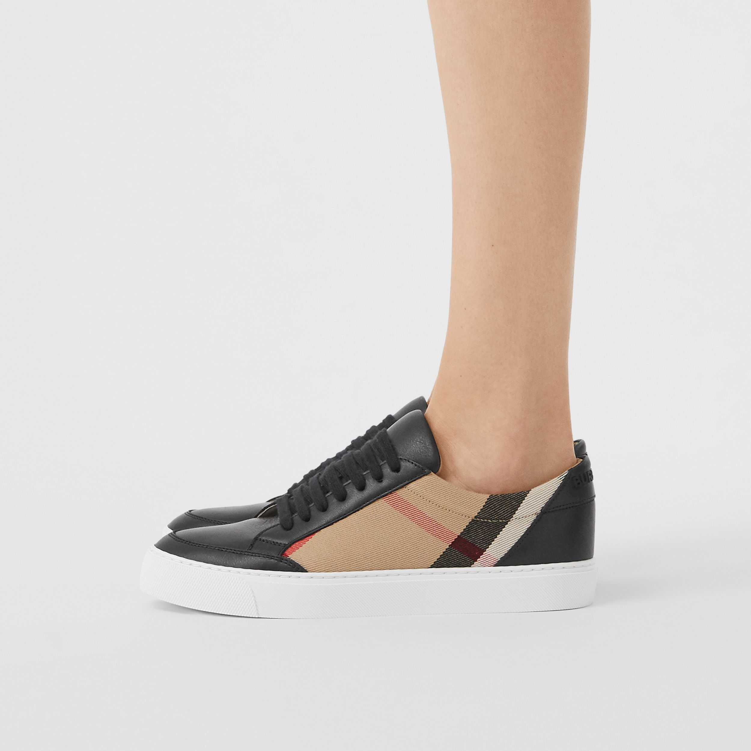 House Check and Leather Sneakers in Black - Women | Burberry - 3