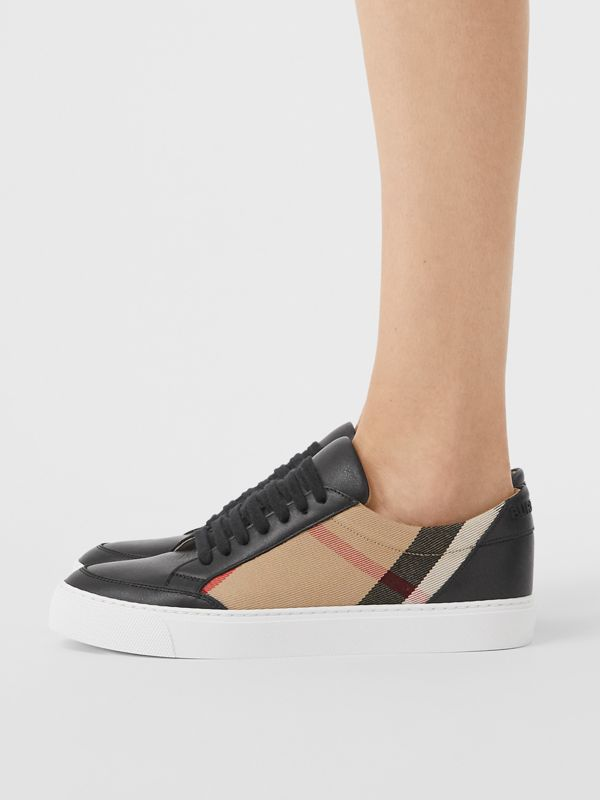 House Check and Leather Sneakers in Black - Women | Burberry United Kingdom - cell image 2