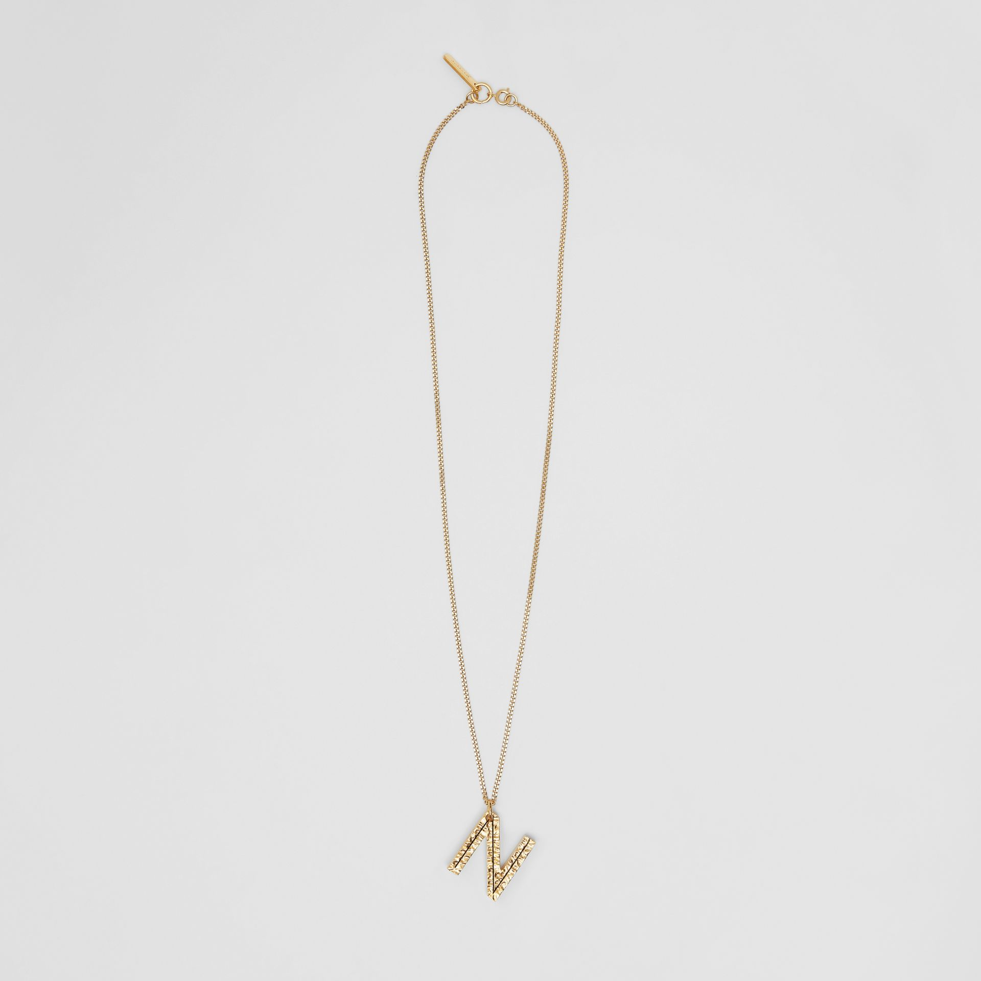 'N' Alphabet Charm Gold-plated Necklace in Light - Women | Burberry United Kingdom - gallery image 0