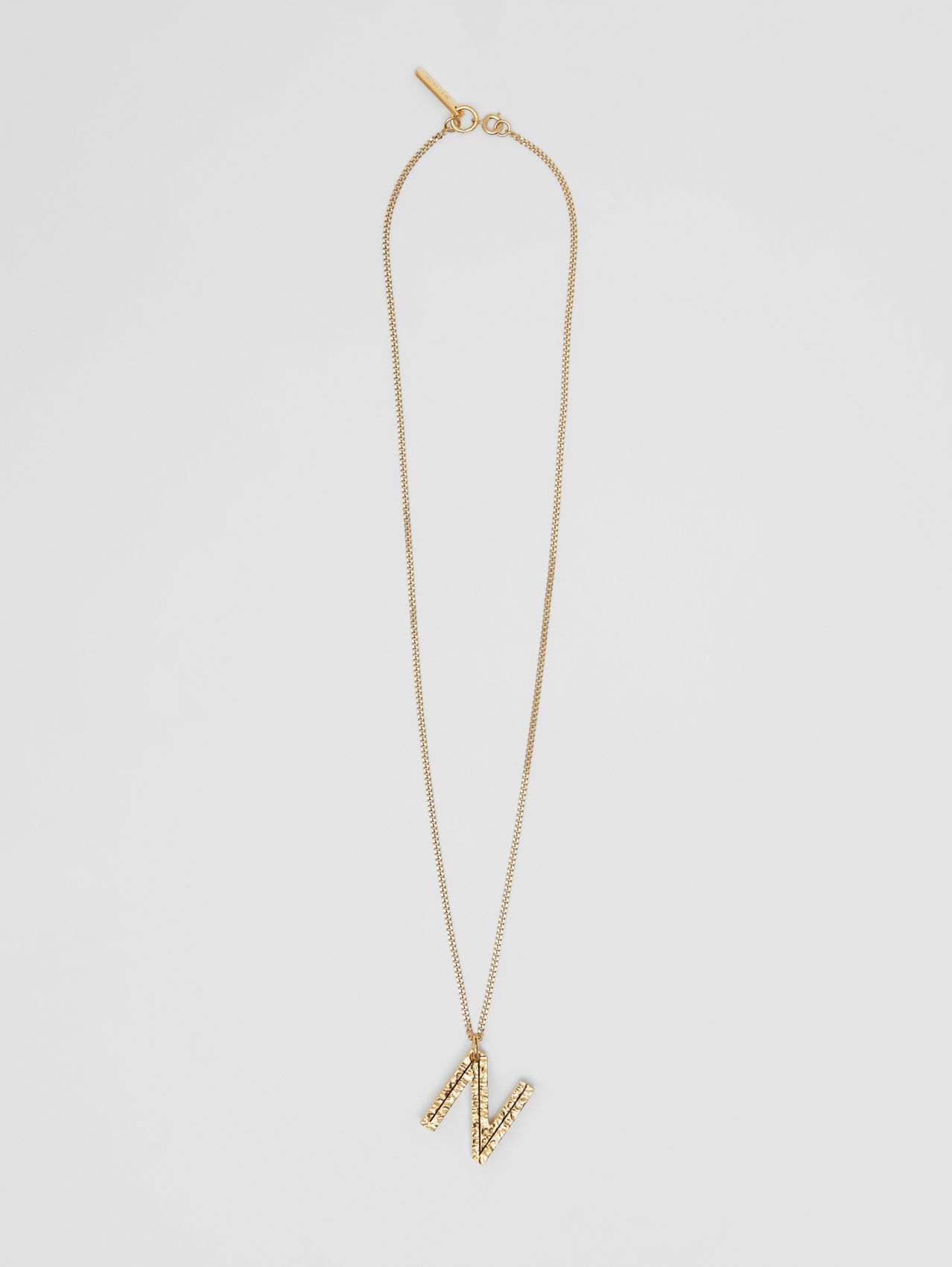'N' Alphabet Charm Gold-plated Necklace in Light