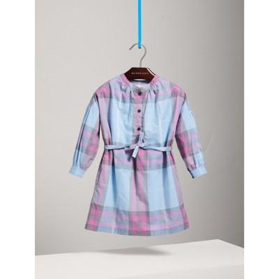 Check Cotton Shirt Dress in Chalk Blue Girl