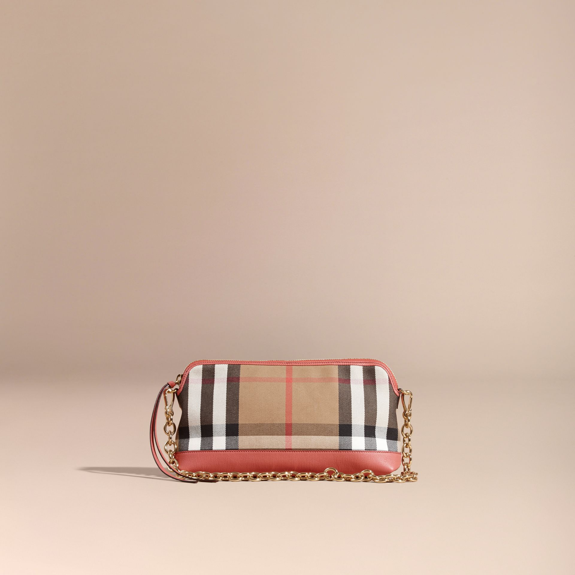 House Check and Leather Clutch Bag in Cinnamon Red - gallery image 9
