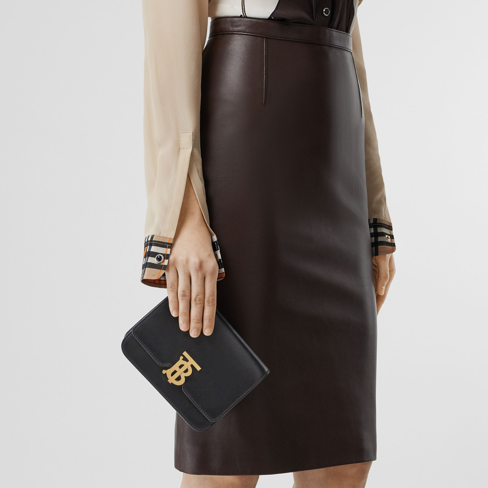 Belted Leather TB Bag in Black - Women | Burberry - gallery image 3