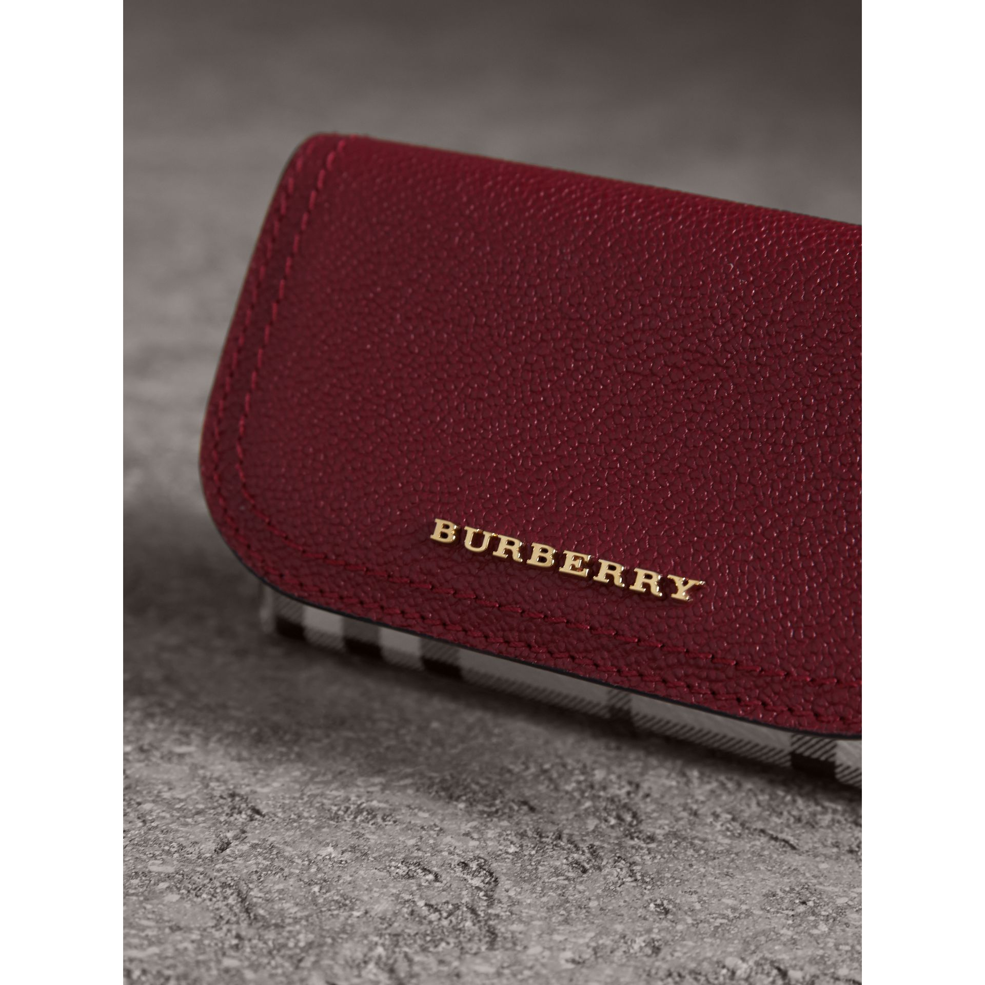 Leather and Haymarket Check Mini Wallet in Burgundy/multicolour | Burberry Australia - gallery image 4