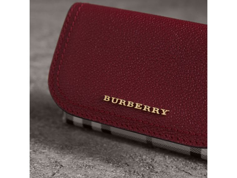 Leather and Haymarket Check Mini Wallet in Burgundy/multicolour | Burberry - cell image 4