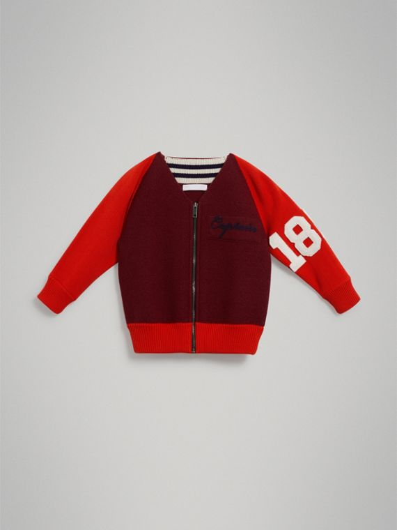 Merino Wool and Cotton Baseball Jacket in Burgundy