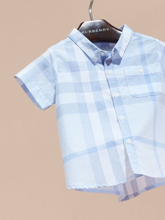 Short-sleeve Check Cotton Shirt in Ice Blue | Burberry - cell image 2