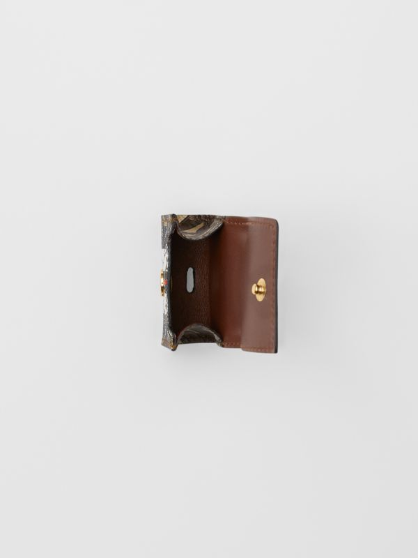 Monogram Stripe E-canvas AirPod Case in Bridle Brown | Burberry - cell image 2