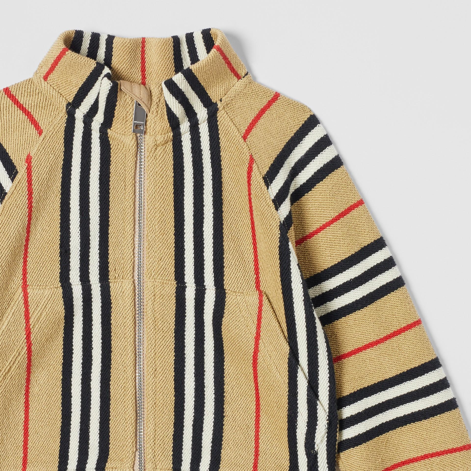 Icon Stripe Cotton Track Top in Archive Beige - Children   Burberry United Kingdom - gallery image 5