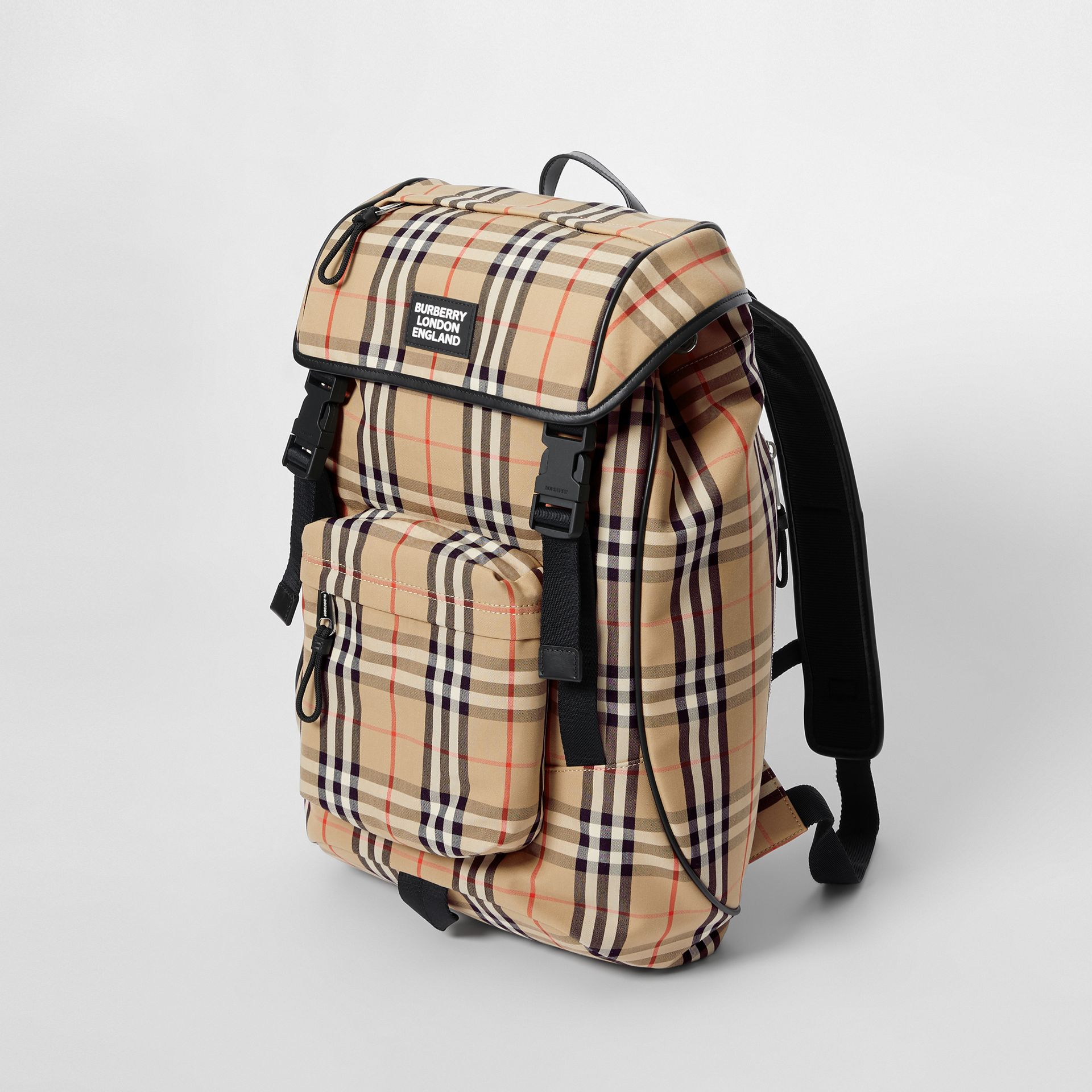 Logo Detail Vintage Check Backpack in Archive Beige | Burberry United Kingdom - gallery image 4
