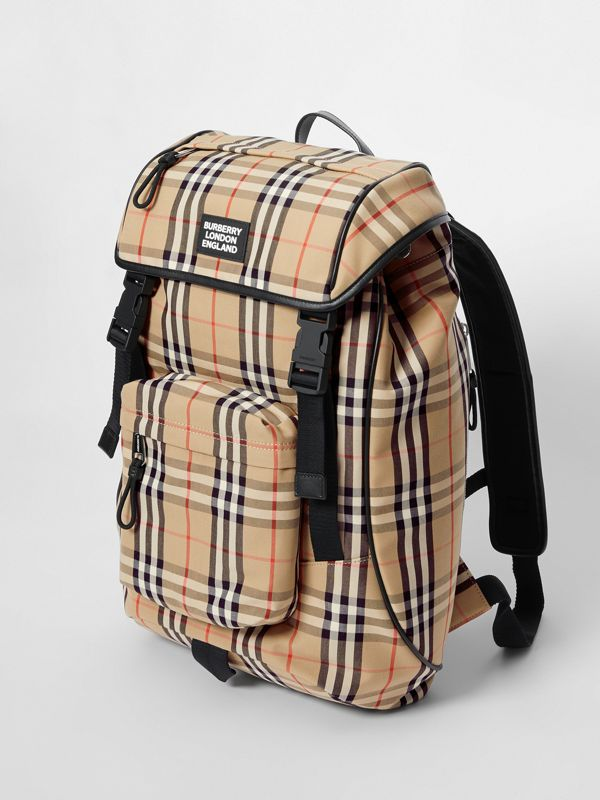Logo Detail Vintage Check Backpack in Archive Beige | Burberry - cell image 3