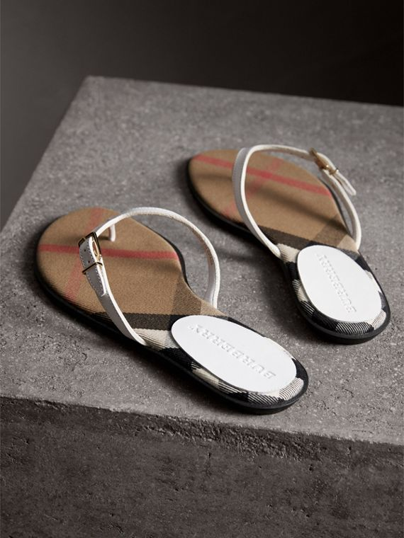 House Check and Leather Sandals in Optic White - Women | Burberry - cell image 2