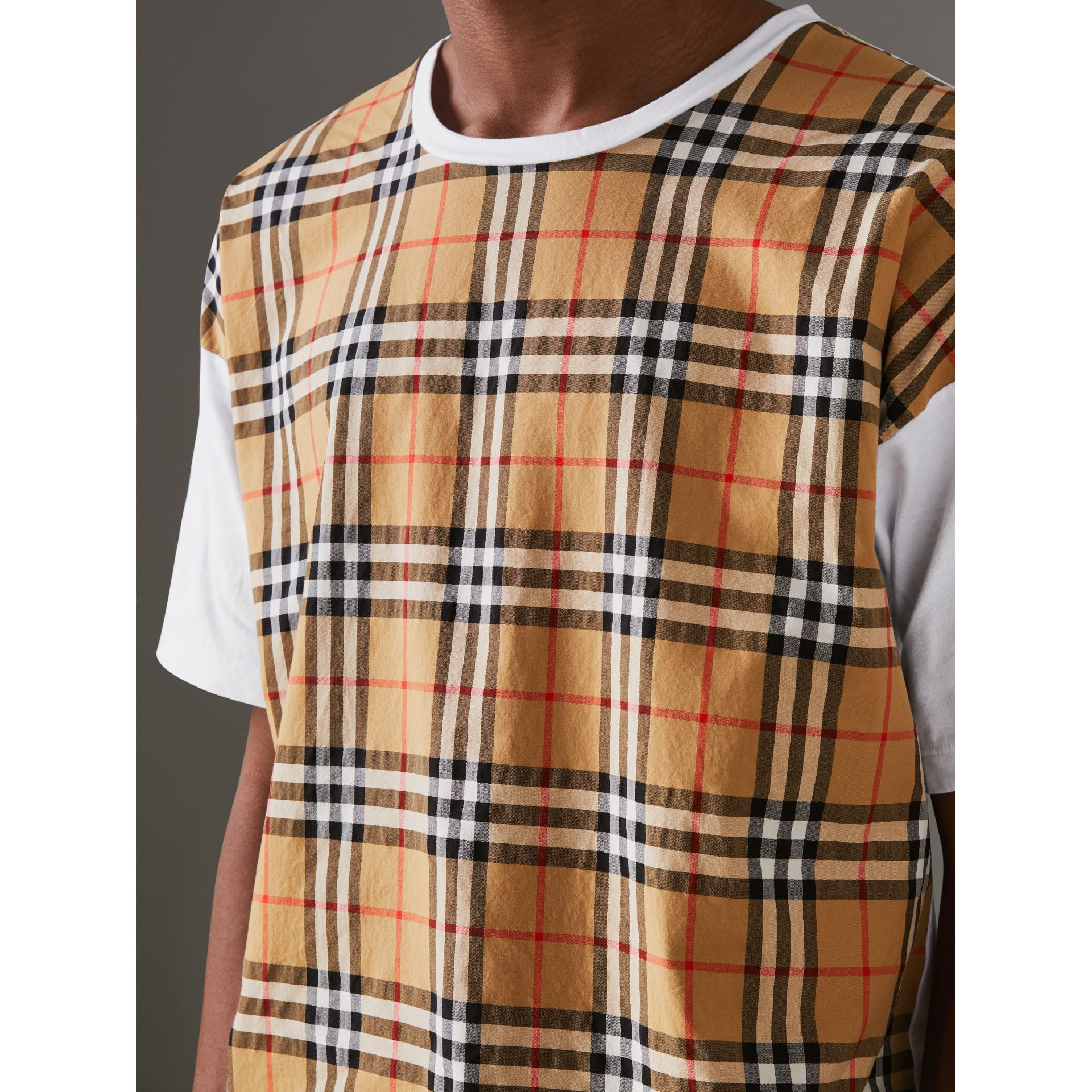 Vintage Check Panel Cotton T-shirt in White - Men | Burberry - gallery image 1