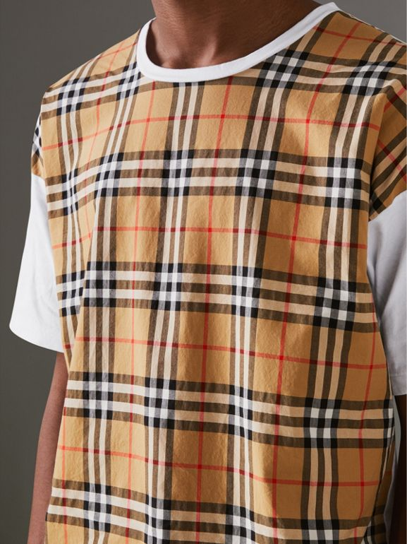Vintage Check Panel Cotton T-shirt in White - Men | Burberry - cell image 1