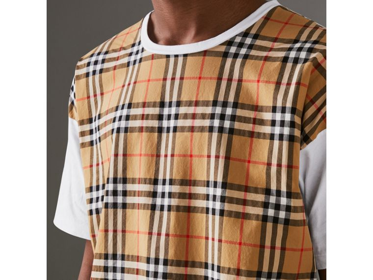 Vintage Check Panel Cotton T-shirt in White - Men | Burberry Singapore - cell image 1