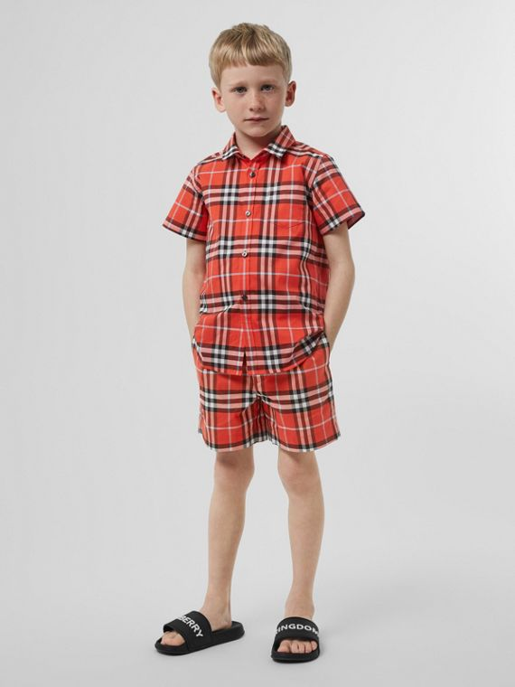 格紋棉質量裁短褲 (橘紅色)