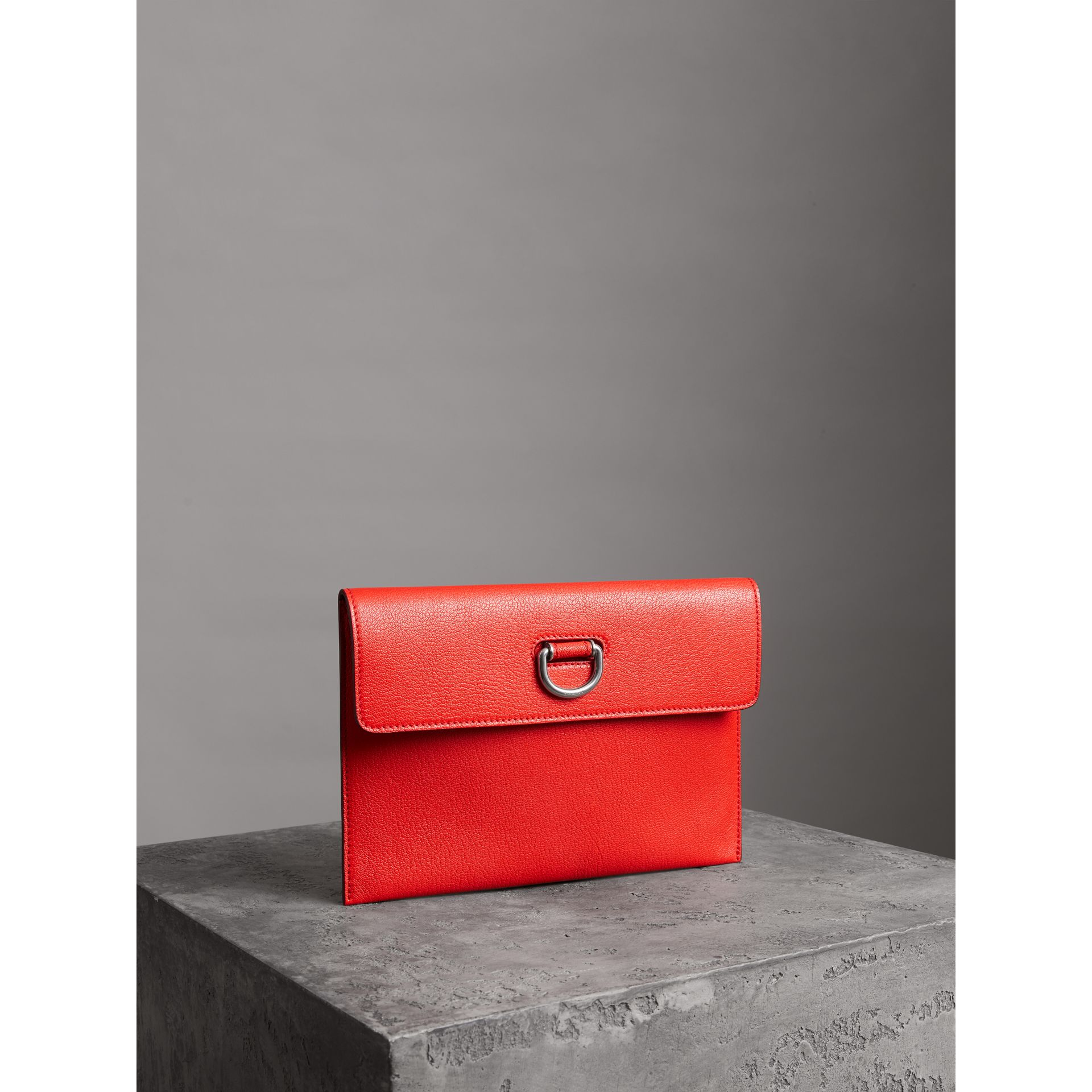 D-ring Leather Pouch with Zip Coin Case in Bright Red - Women | Burberry - gallery image 6