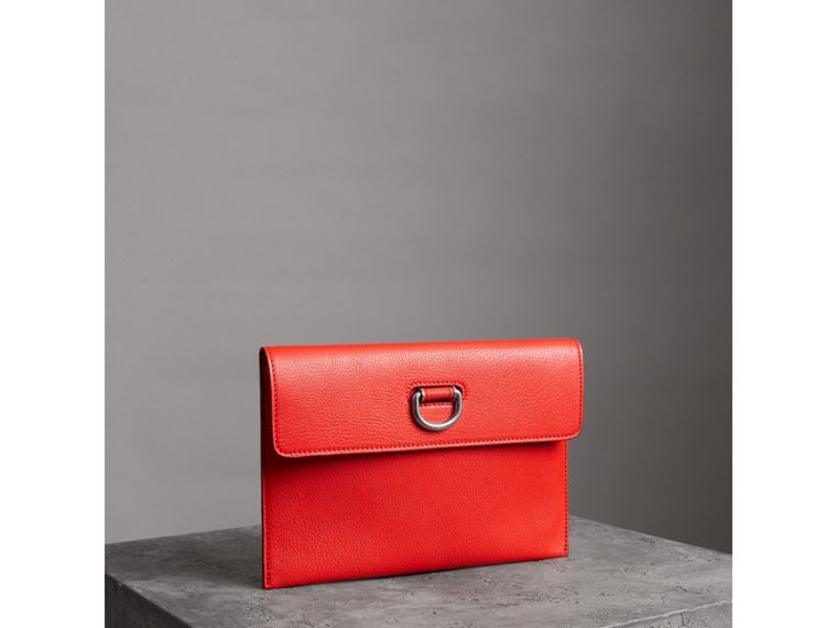 D-ring Leather Pouch with Zip Coin Case in Bright Red - Women | Burberry - cell image 4