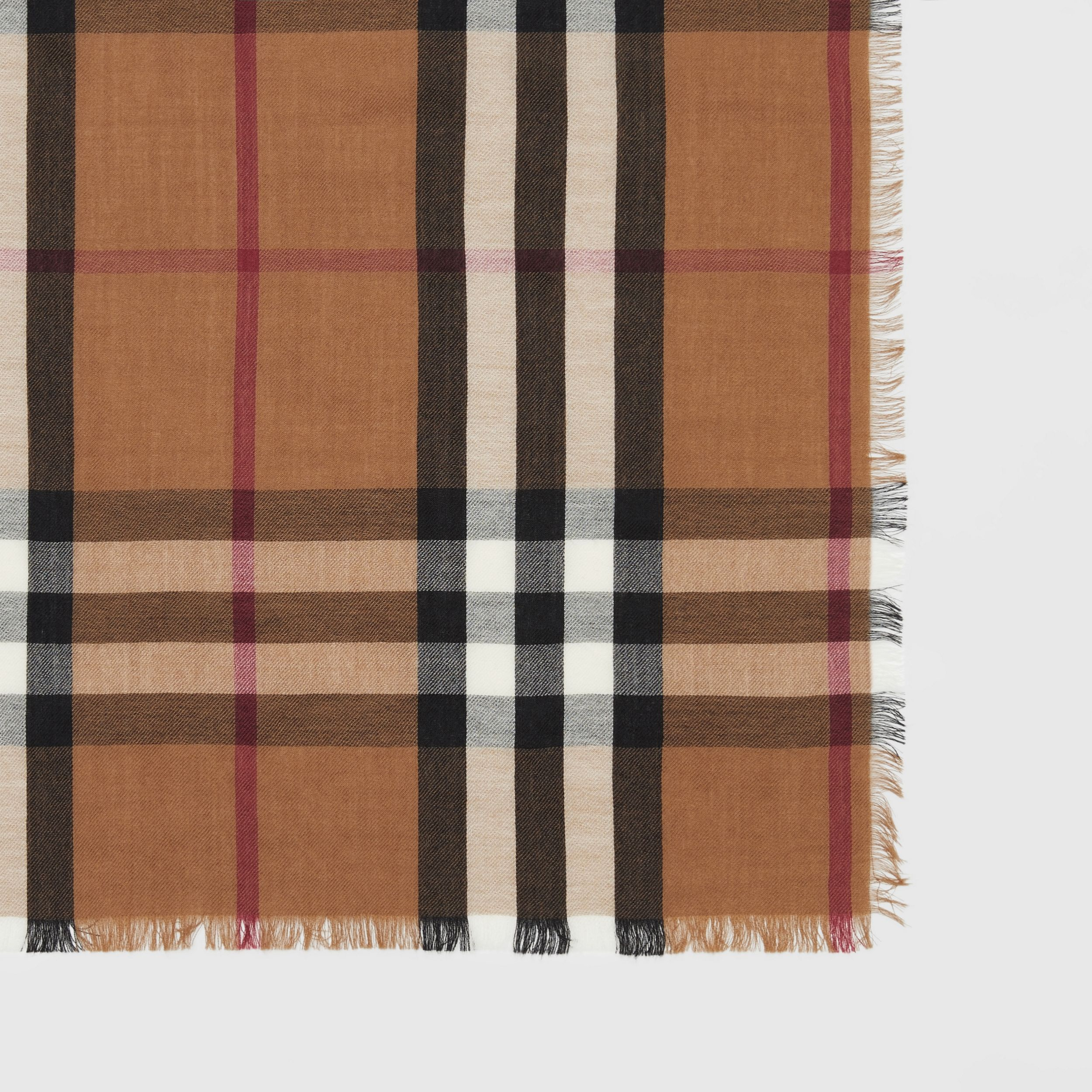 Check Lightweight Cashmere Scarf in Birch Brown | Burberry - 2