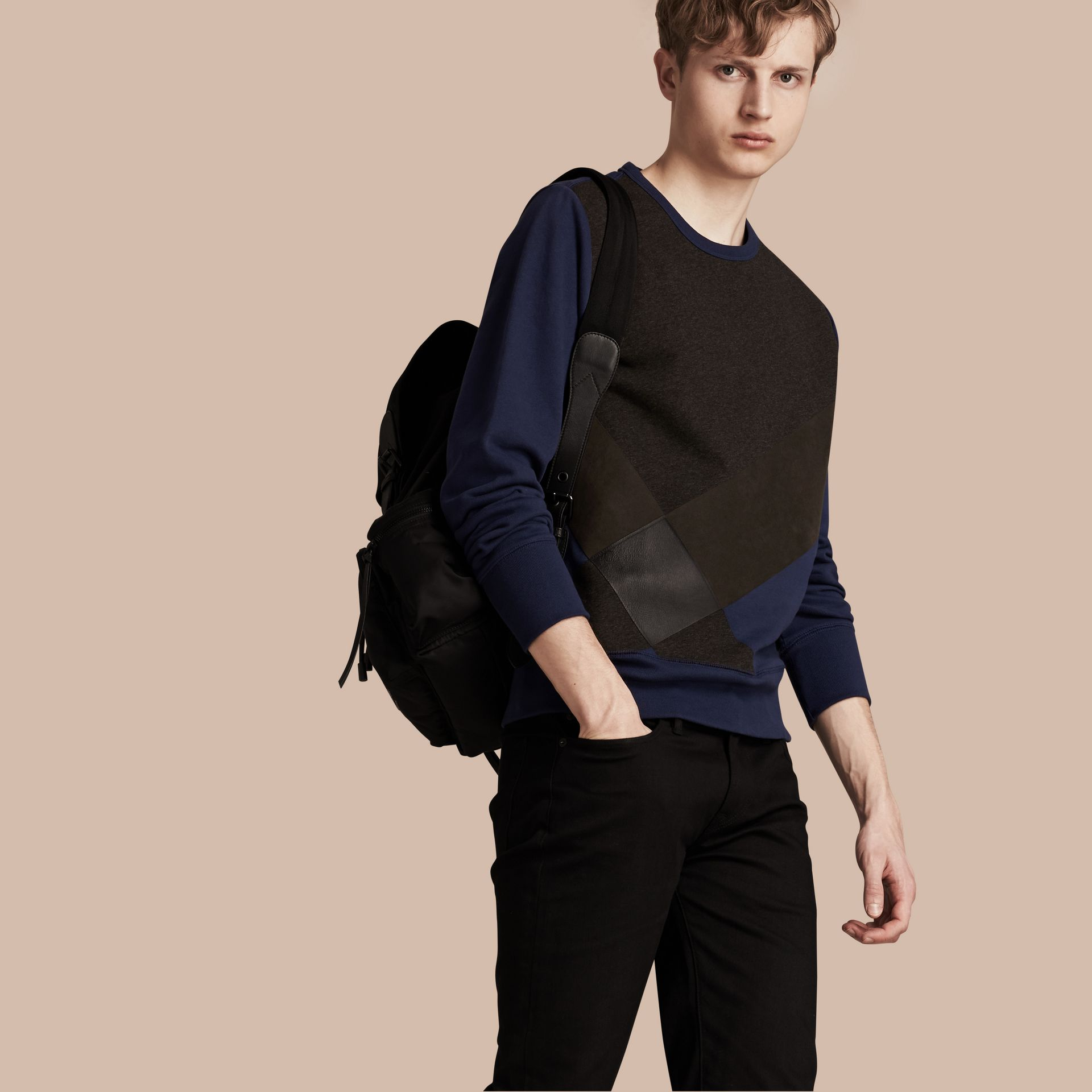Indigo Colour Block Cotton and Lambskin Sweatshirt - gallery image 1