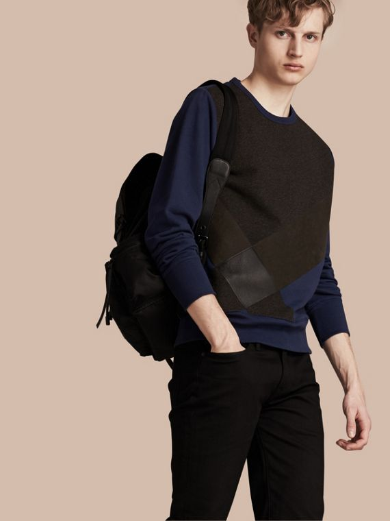 Colour Block Cotton and Lambskin Sweatshirt