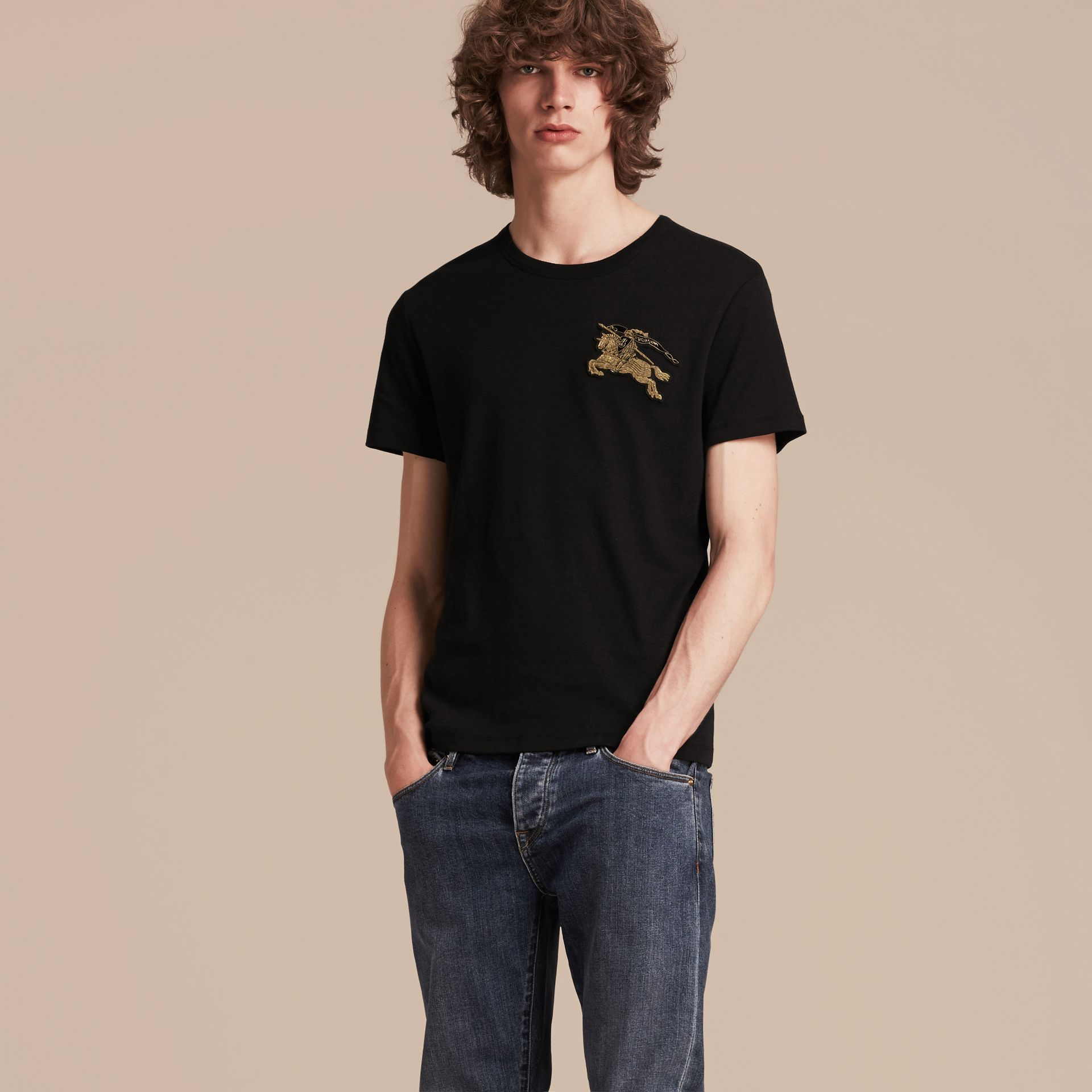 Black Cotton Wool Blend T-shirt Black - gallery image 6
