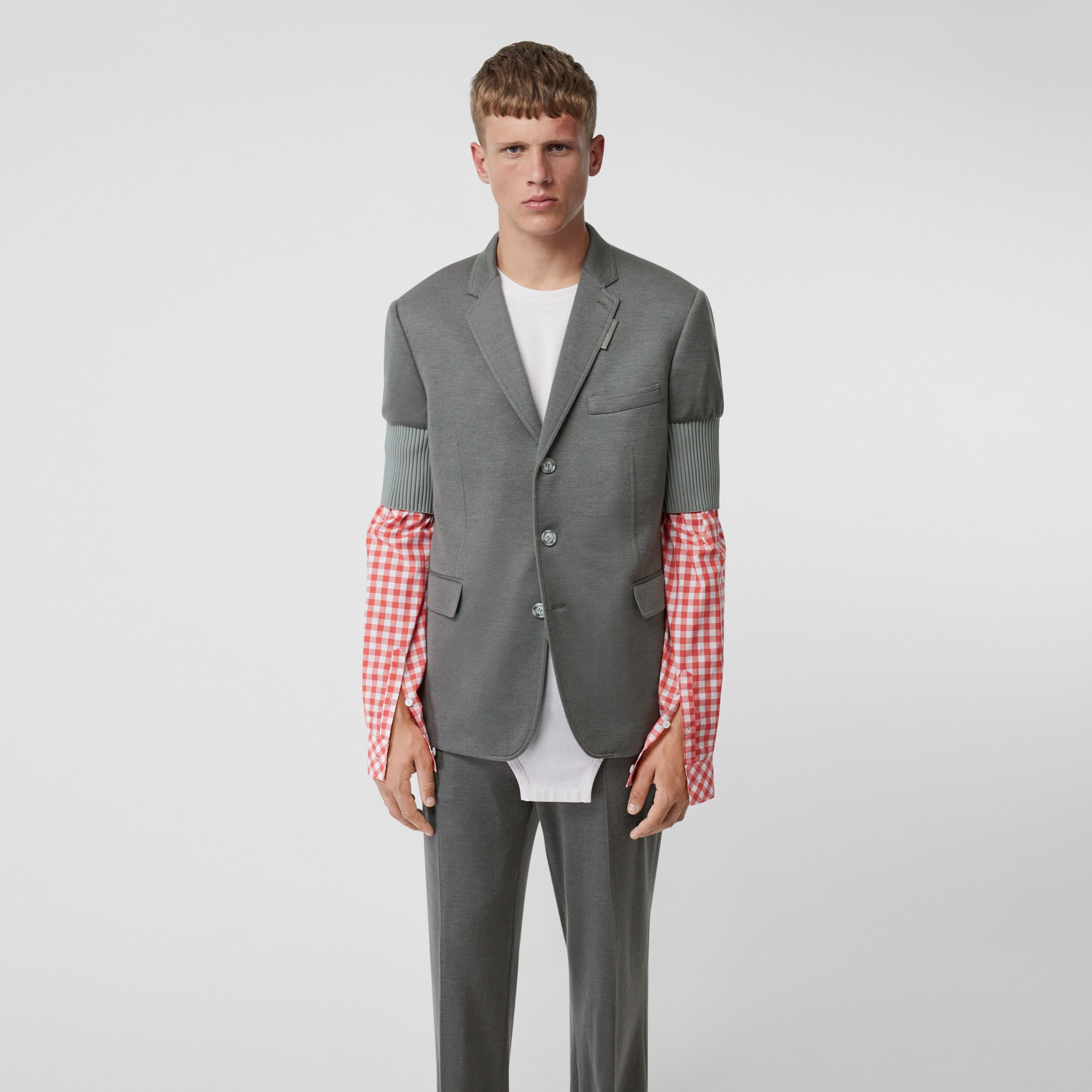 Slim Fit Panelled-sleeve Cashmere Silk Jersey Blazer in Cloud Grey - Men | Burberry - 1