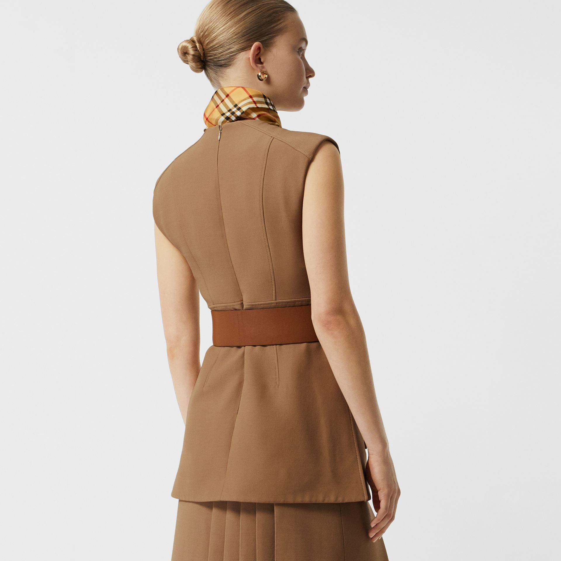 Keyhole Detail Sleeveless Wool Silk Top in Camel - Women | Burberry Australia - gallery image 2