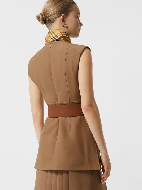 Keyhole Detail Sleeveless Wool Silk Top in Camel - Women | Burberry - cell image 2