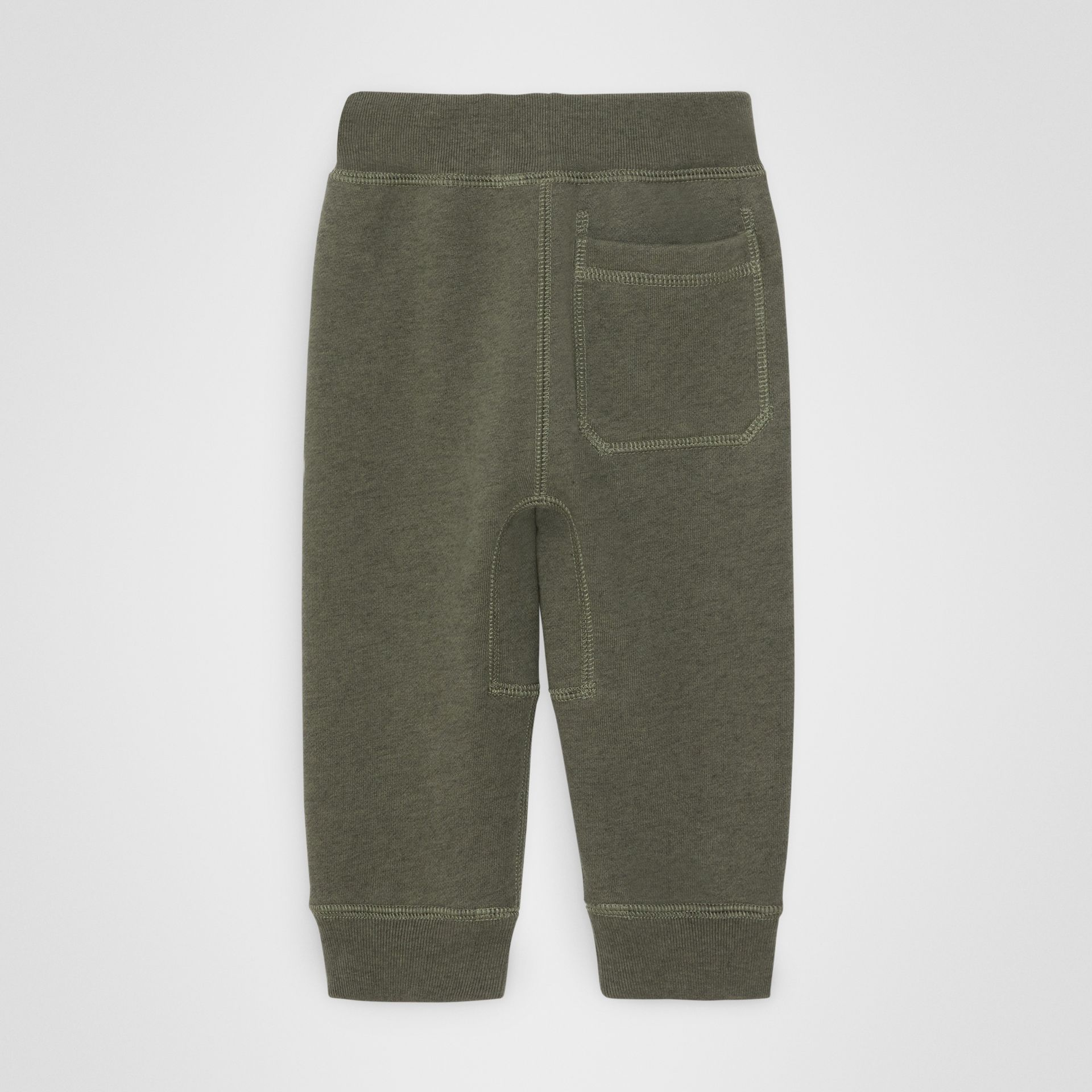 Embroidered Logo Cotton Trackpants in Olive Melange - Children | Burberry United States - gallery image 3