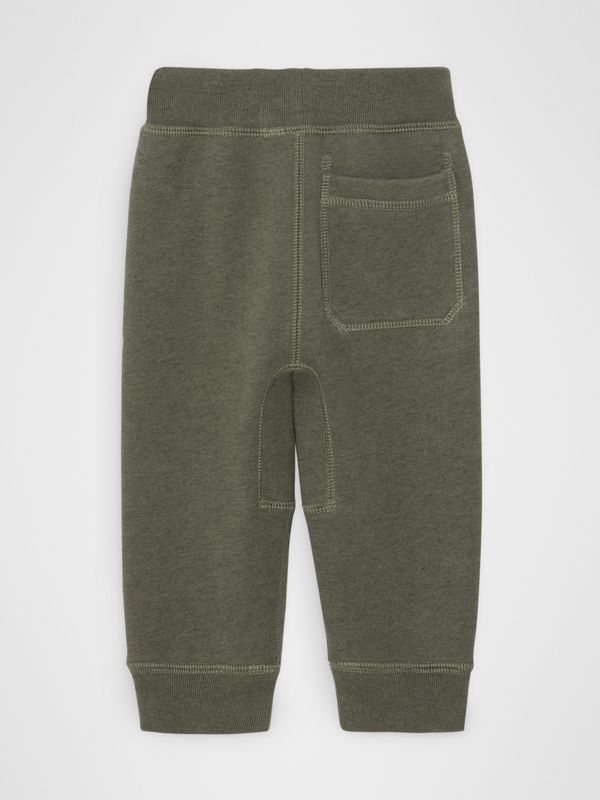 Embroidered Logo Cotton Trackpants in Olive Melange - Children | Burberry - cell image 3