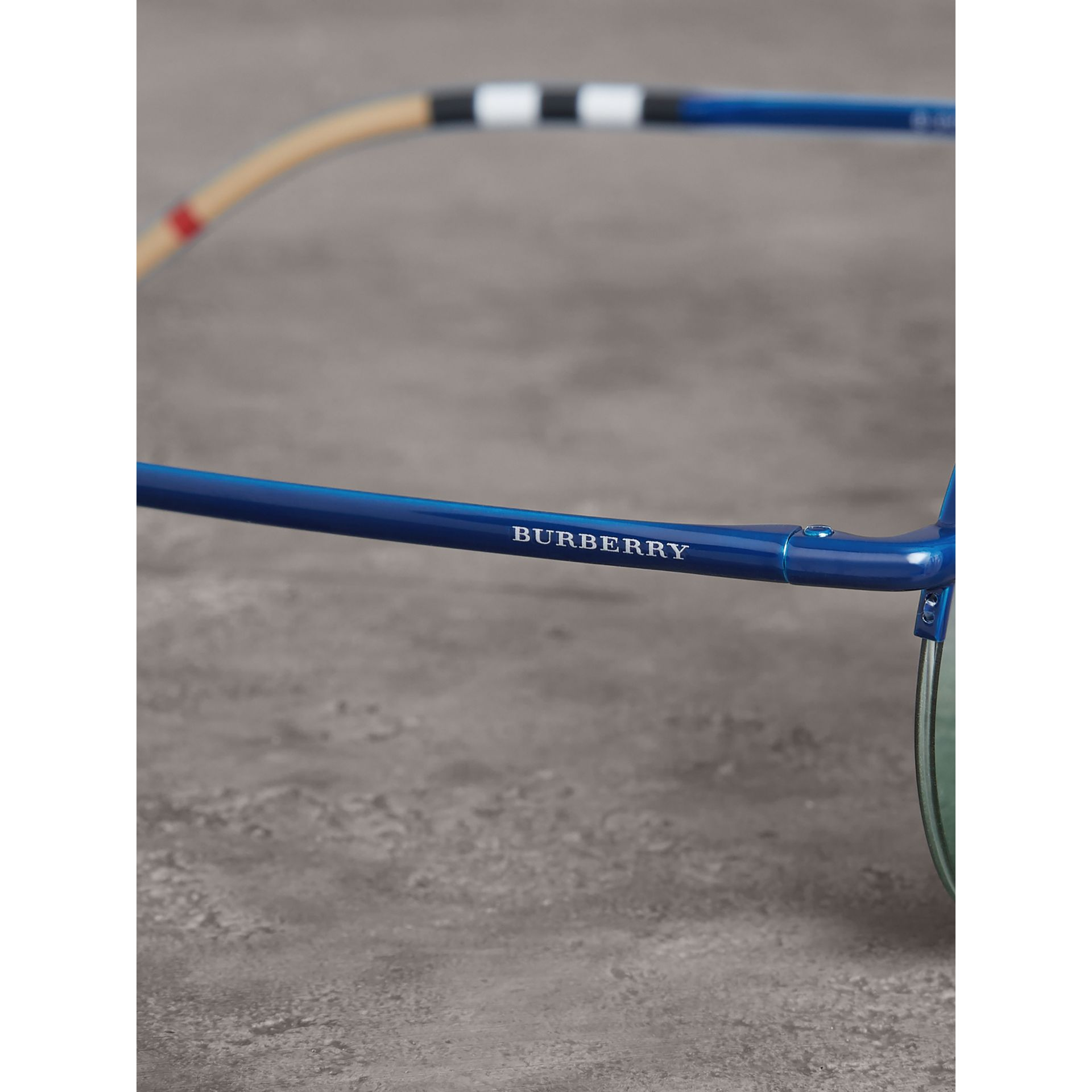 Check Detail Round Frame Sunglasses in Blue - Women | Burberry Canada - gallery image 1