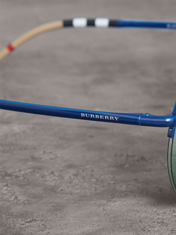 Check Detail Round Frame Sunglasses in Blue - Women | Burberry Canada - cell image 1