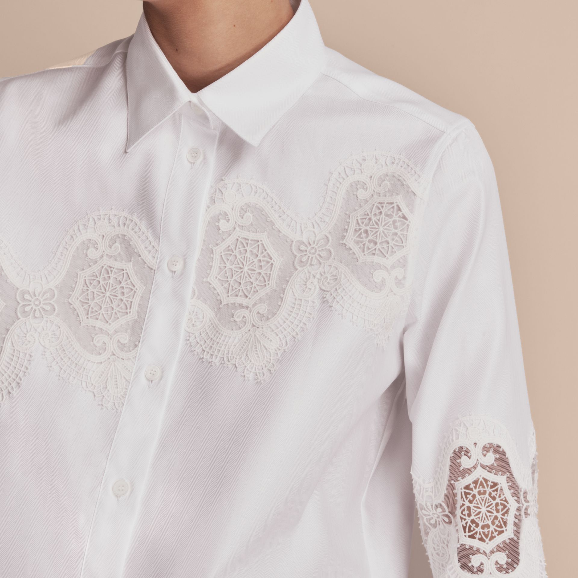 Lace Cutwork Herringbone Cotton Shirt in White - Women | Burberry - gallery image 4
