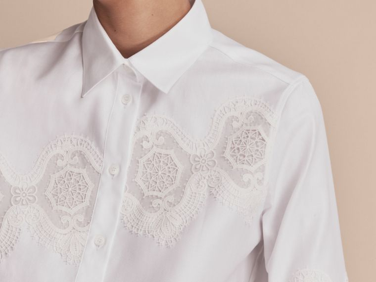 Lace Cutwork Herringbone Cotton Shirt in White - Women | Burberry - cell image 4