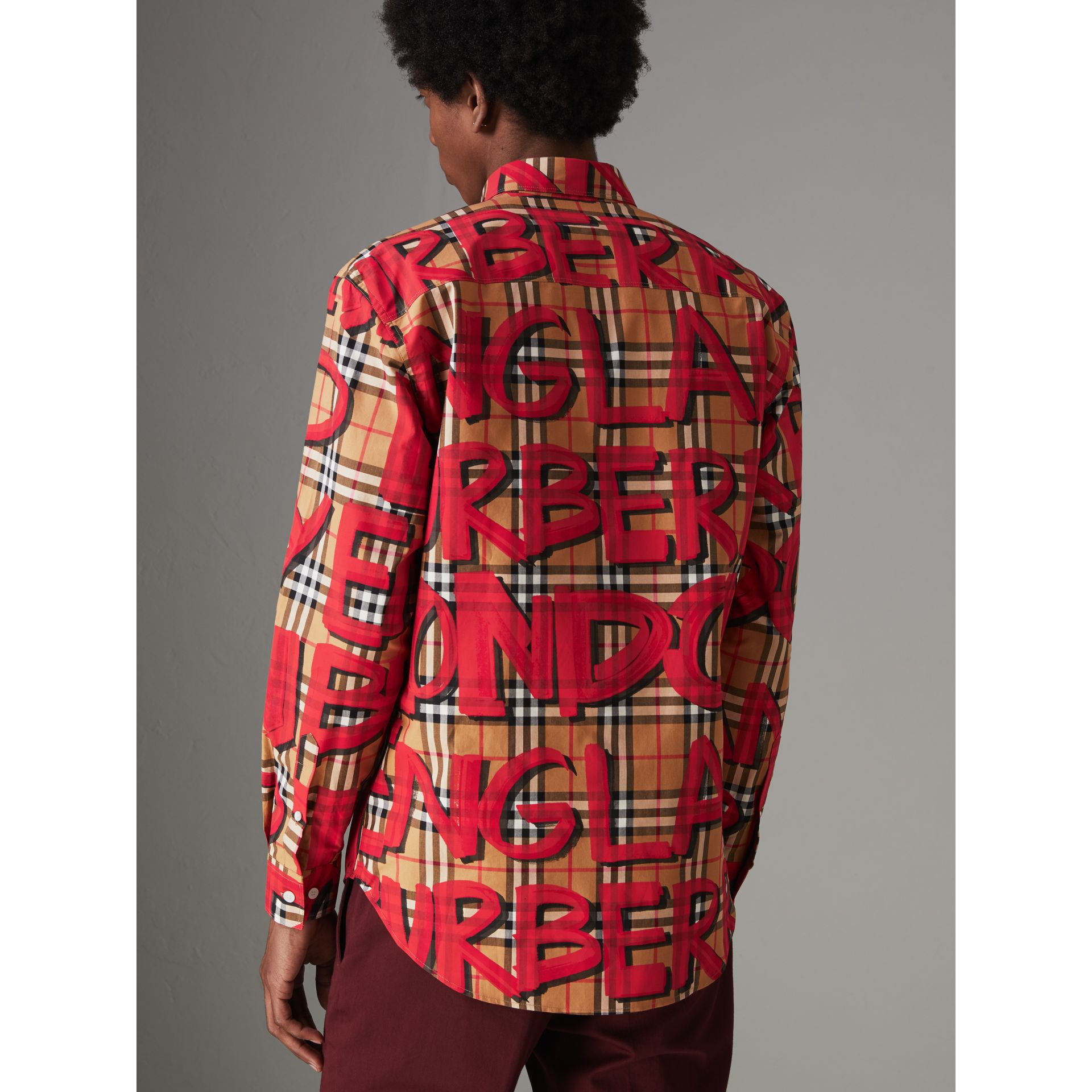 Graffiti Print Vintage Check Shirt in Bright Red - Men | Burberry Australia - gallery image 2