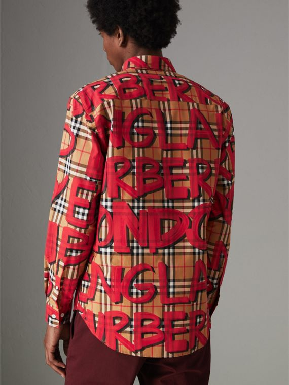 Graffiti Print Vintage Check Shirt in Bright Red - Men | Burberry Australia - cell image 2