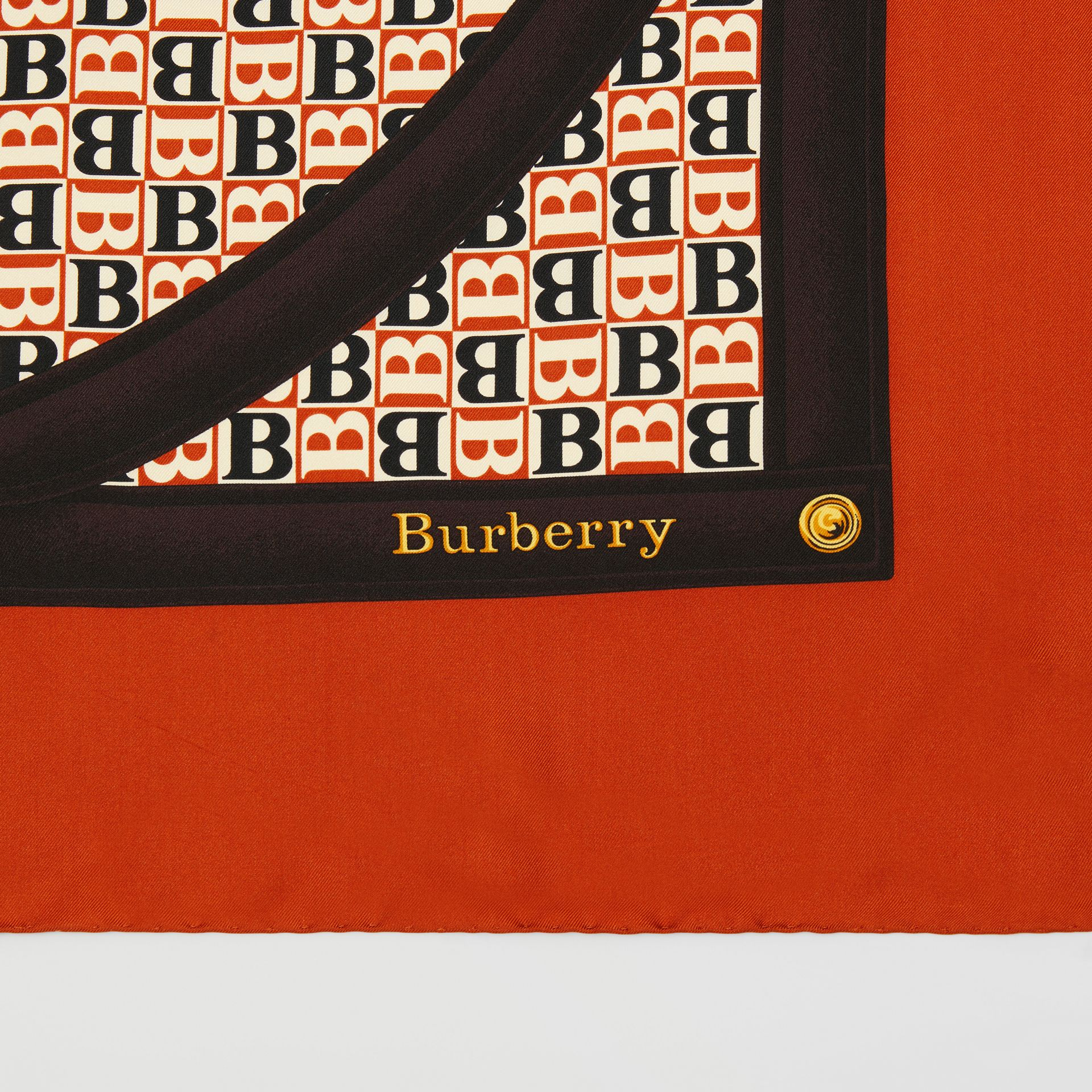Archive Scarf Print Silk Square Scarf in Bronze | Burberry - gallery image 8