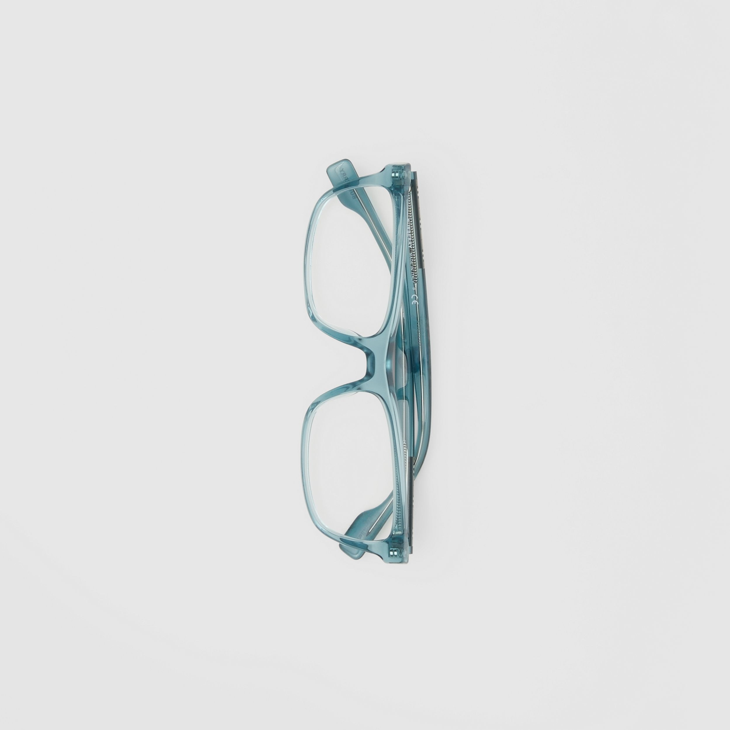 Icon Stripe Detail Rectangular Optical Frames in Petrol Blue - Men | Burberry - 4