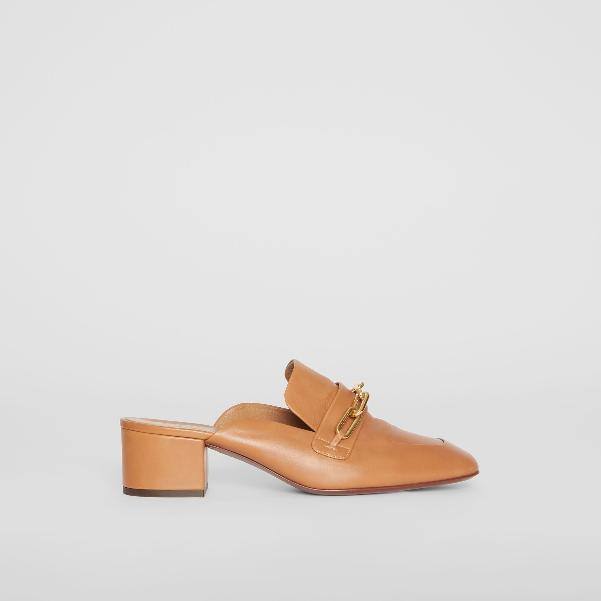 Link Detail Leather Block-heel Mules in Camel - Women | Burberry - gallery image 4