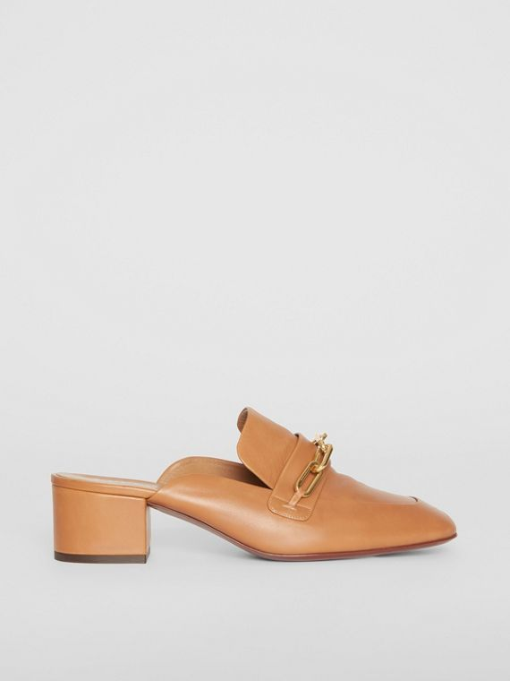 Link Detail Leather Block-heel Mules in Camel