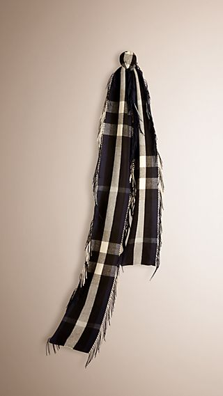 The Long Fringe Scarf in Check Cashmere